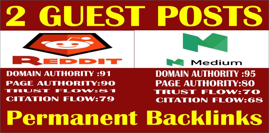 Write & Publish 2 Guest Posts on High DA 90+ Permanent Backlinks Google Index Guaranteed