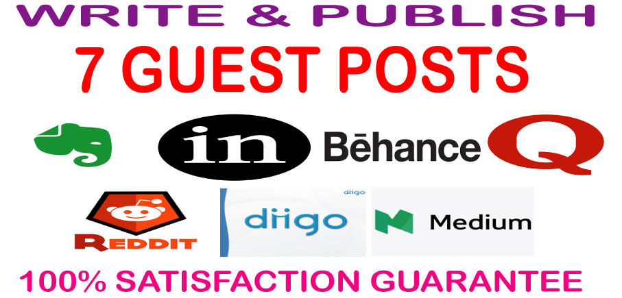 Write & Publish 7 Guest Posts on High Authority DA & PA Permanent Backlinks