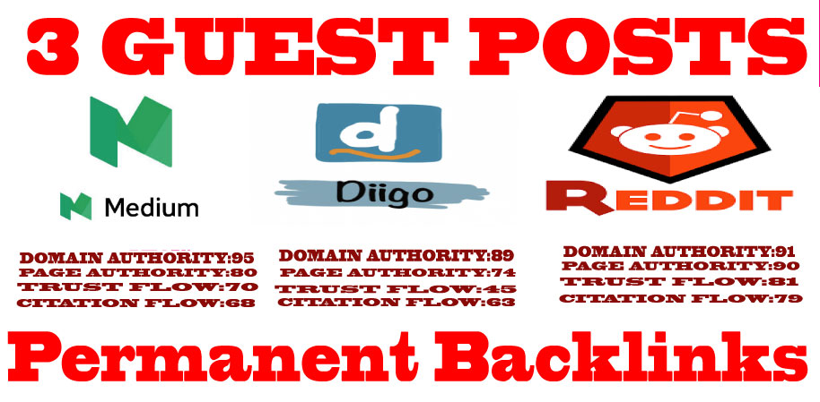 Write & Publish 3 Guest Posts on High Authority DA & PA Permanent Backlinks Google Index Guaranteed