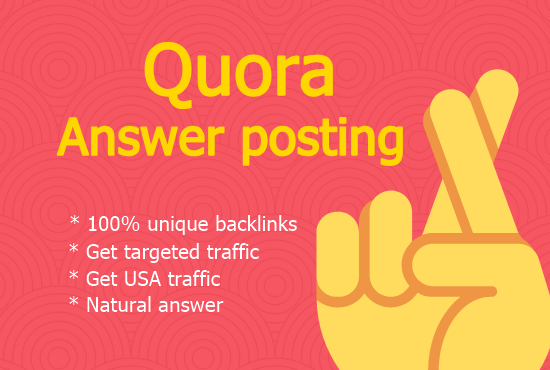Get targeted traffic with High quality 40 Quora answer