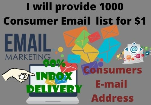 I will provide 1000 Consumer Email address for your business