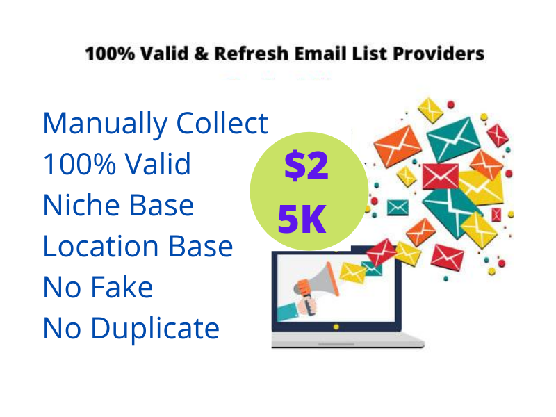 I will collect 5K niche targeted email list Clean and verified