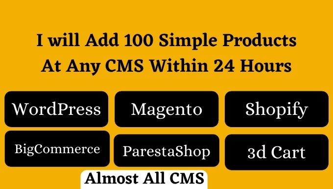 I will add 100 simple products on your ecommerce website