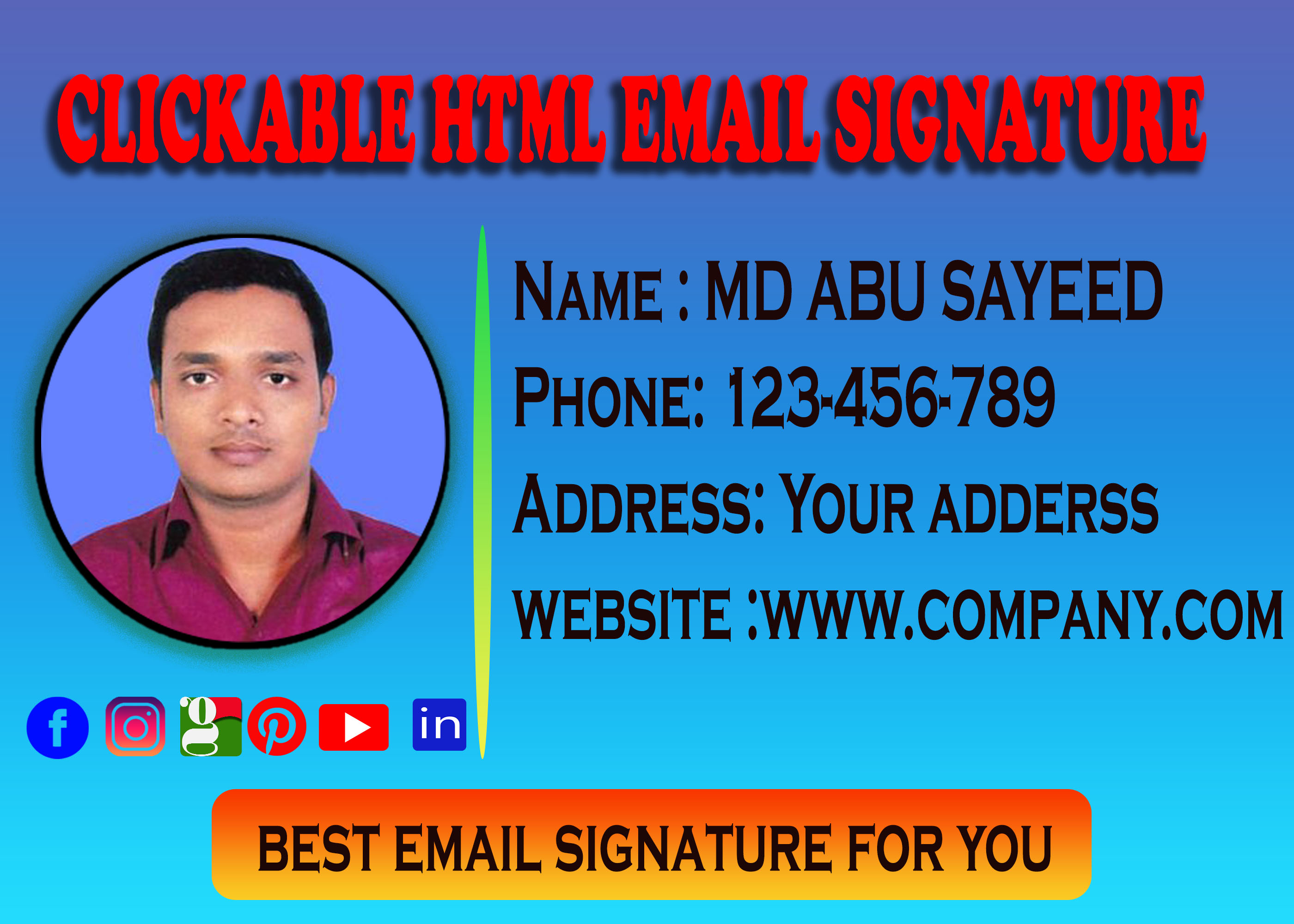 I will Provide you professional clickable HTML email signature