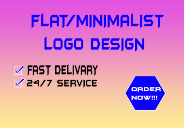 I will do a flat minimalist logo design in just one day