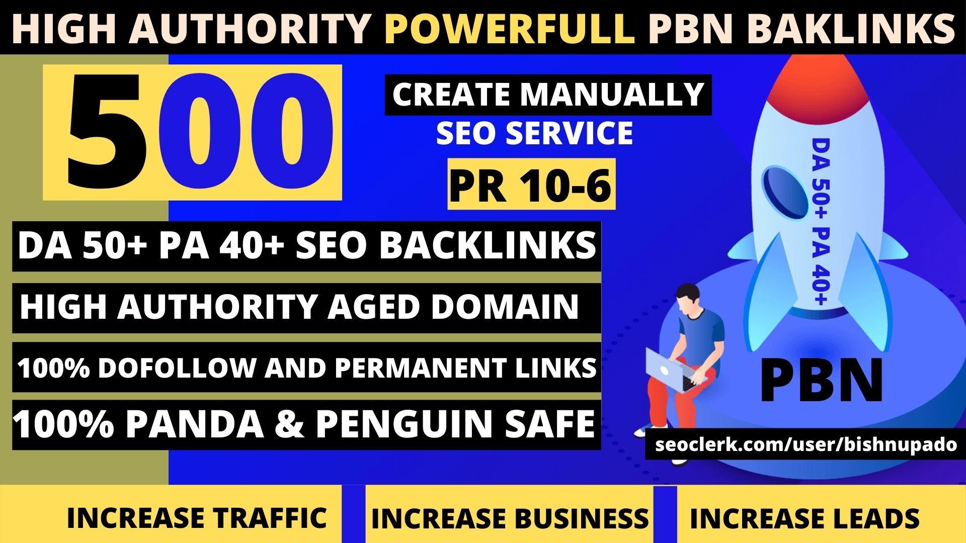 premium permanent 500 Pbn Backlink homepage DA50+ PA40+DR60+PR6+web 2.0 unique site