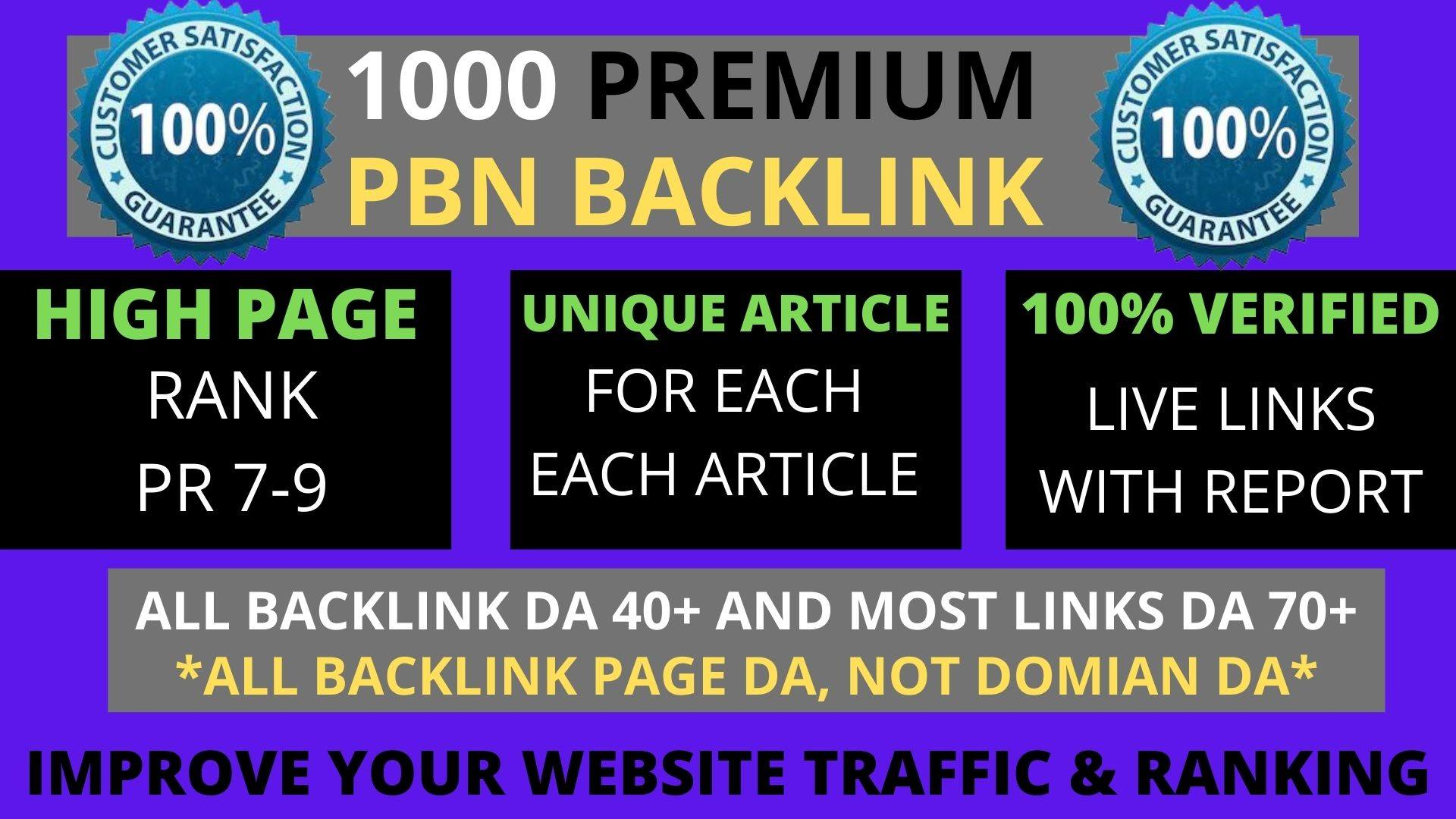 Build Premium 1000 PBN & WEB 2.0 Backlink with Permanent Dofollow & High DA PA TF CF