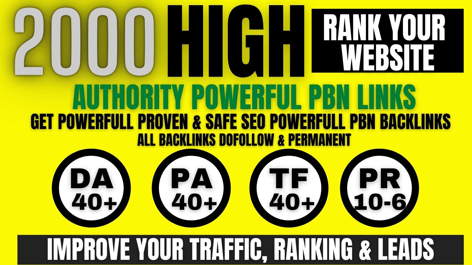 get premium permanent 2000 Pbn Backlink DA40+PA40+PR10 to 6 dofollow unique site