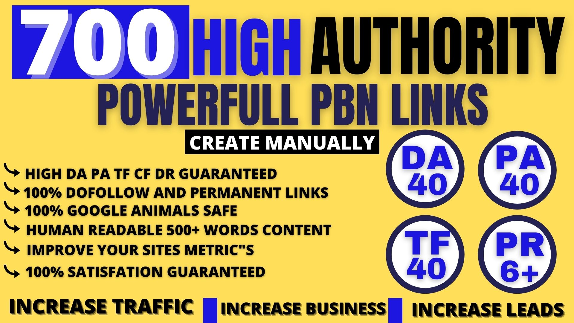 Build permanent 700 Pbn Backlink DA40+PA40+PR6+homepage web 2.0 with dofollow unique site