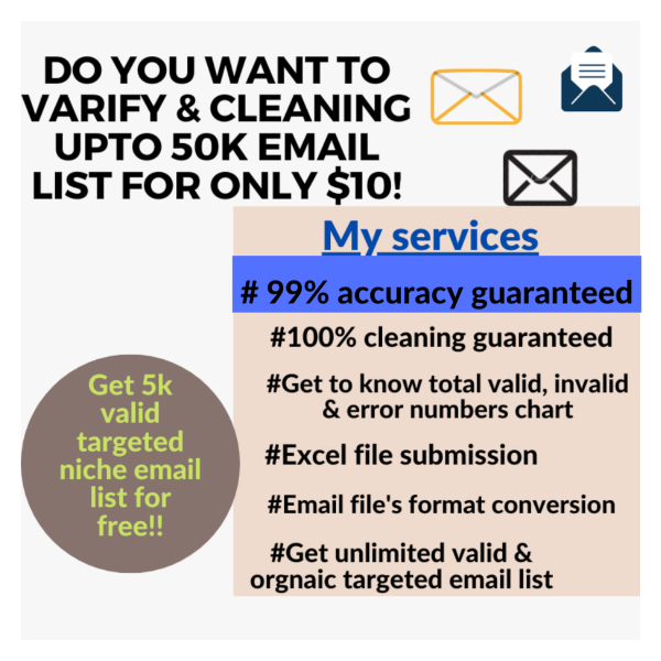 I can do email list varification/validation and cleaning invalid emails