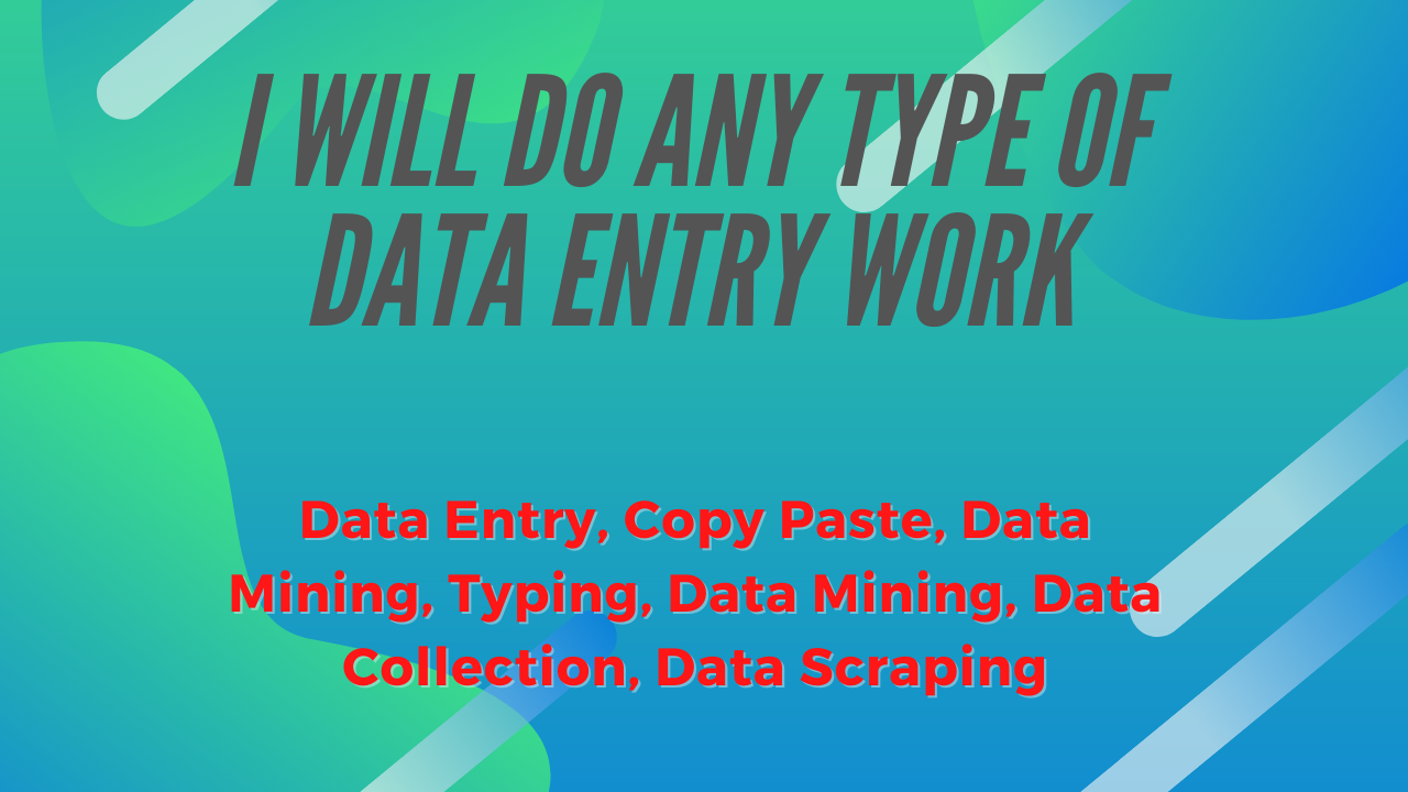 I will do data entry copy paste data mining and data scraping