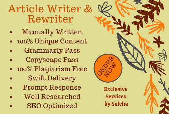 I will write SEO optimized articles and blogs on any topic. Article of 700 words in $5.