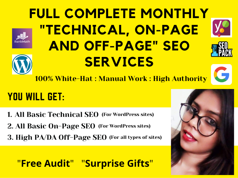Monthly Complete Technical,  On-Page and Off-Page SEO Services to Rank on Google