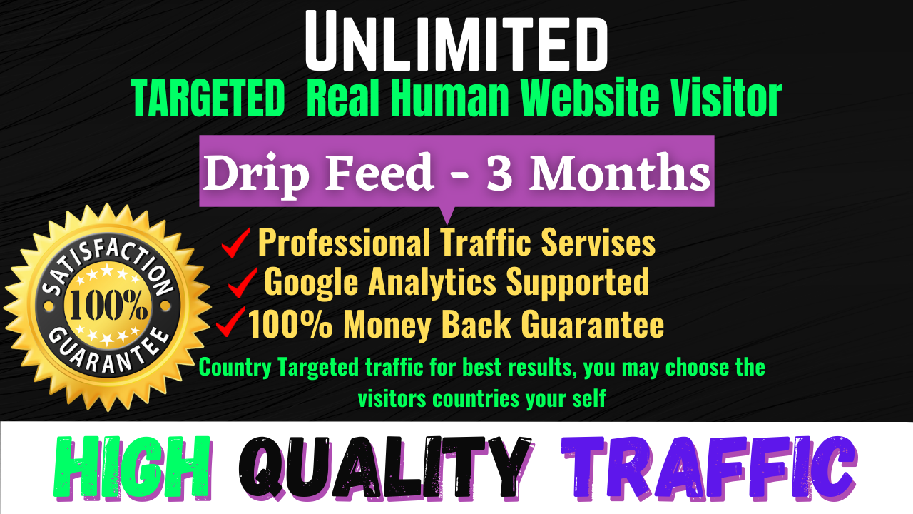 Unlimited Targeted Worldwide Real Human Website High Quality Traffic Visitor For 30 Days