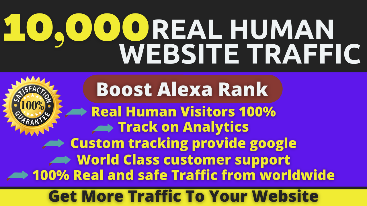 10,000 Real Human Website Visitors From Google,  SMM,  Twitter,  Youtube Web Visitors to your Site