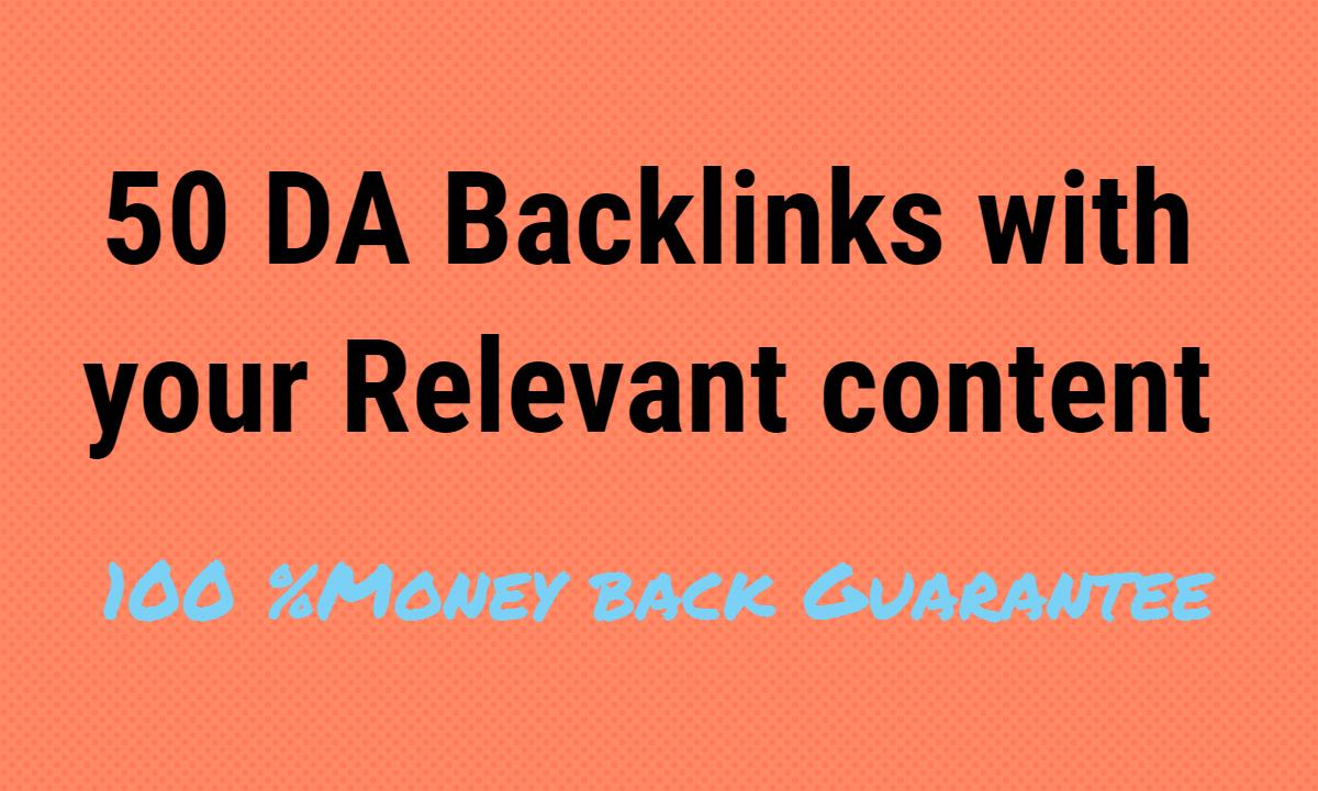 i will provide 50 DA Backlinks in your Nich
