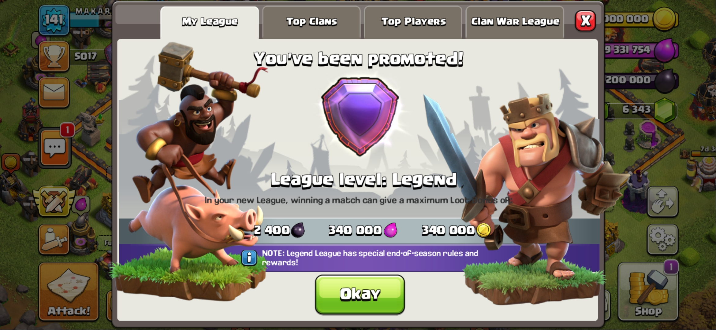 I will trophy up to legend in any divisions clash of clans account