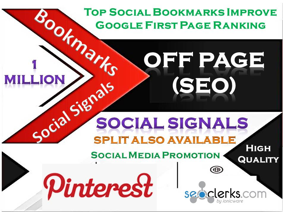 TOP Powerful Site 1 Million Social Signals Pinterest Bookmark Backlinks with split also available