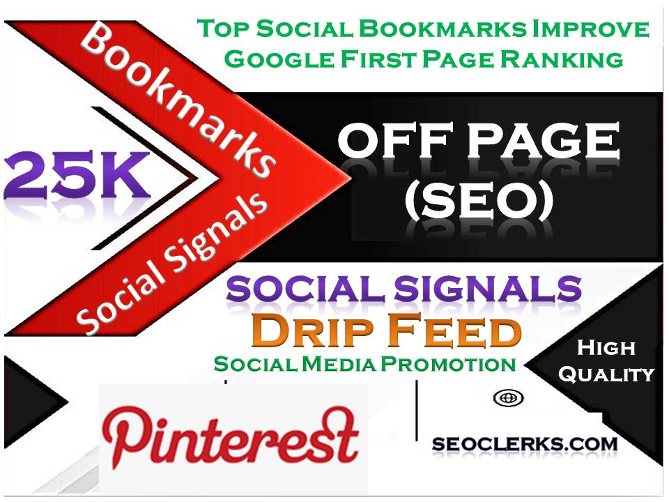 25000 Social Signals Pinterest Bookmark Backlinks SEO Boost increase with split also available