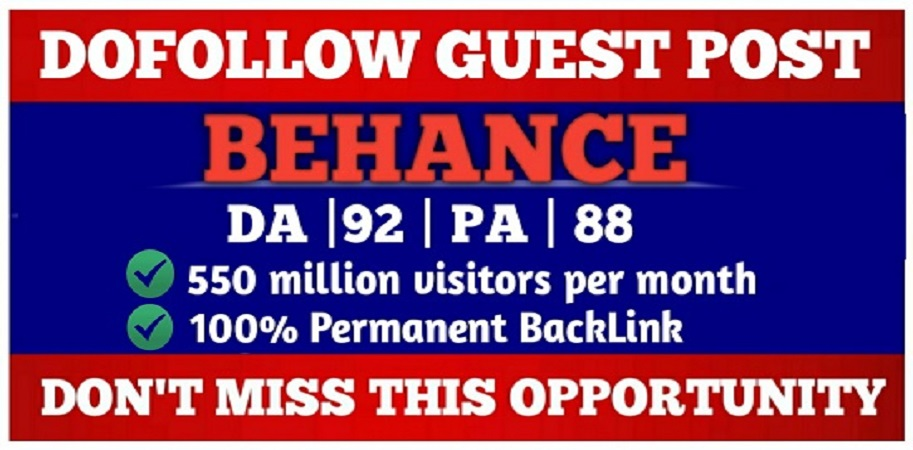 write and publish high quality guest post on behance da 92 with DoFoIIow backlinks