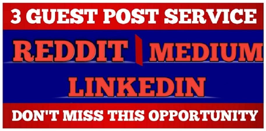 I will do high da guest post on da90 website reddit, medium, linkedin with DofoIIow Link