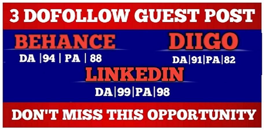 write and publish high da guest post on da90+sites behance, diigo, linkedin with DofoIIow Link