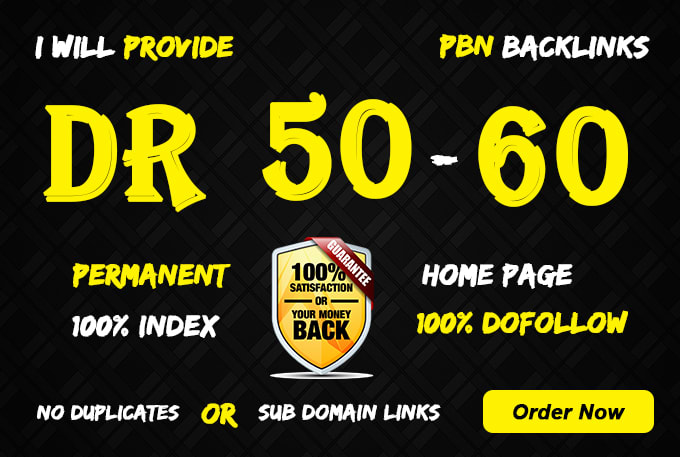 I will make 50 PBN DR 50 to 60 Dofollow PBN Backlinks All Niche Accepting