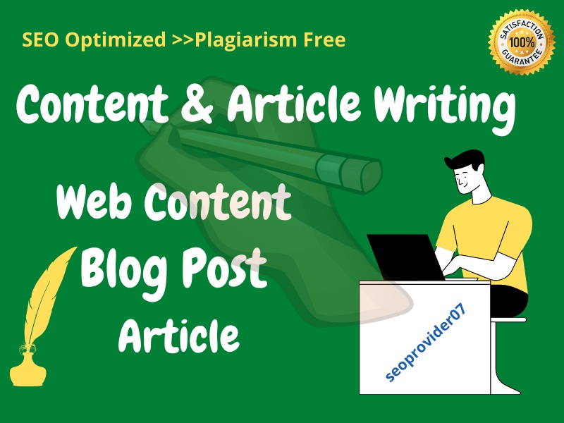 I will write unique & researched SEO article,  blog post,  or website content