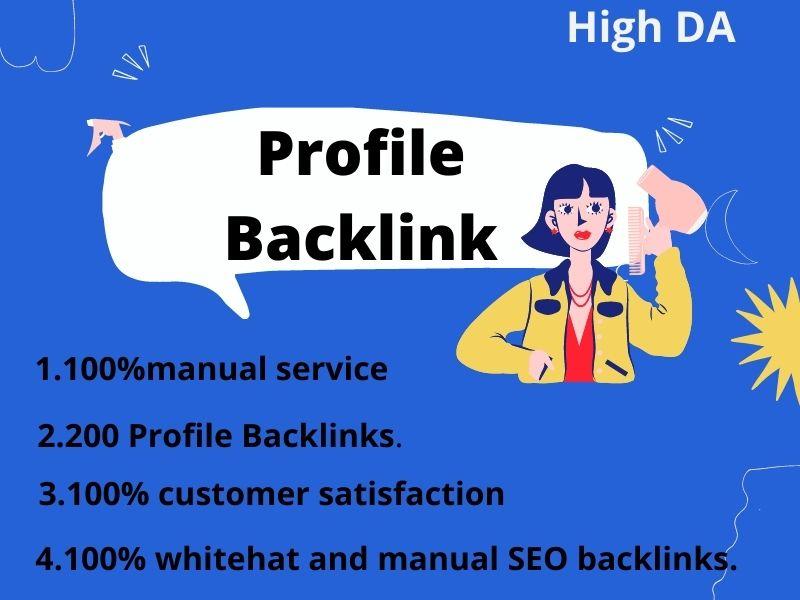 I will do manually 200 high DA profile backlinks for SEO ranking within 72 hours.