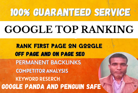 I will do Permanent google top ranking for your website with white hat seo