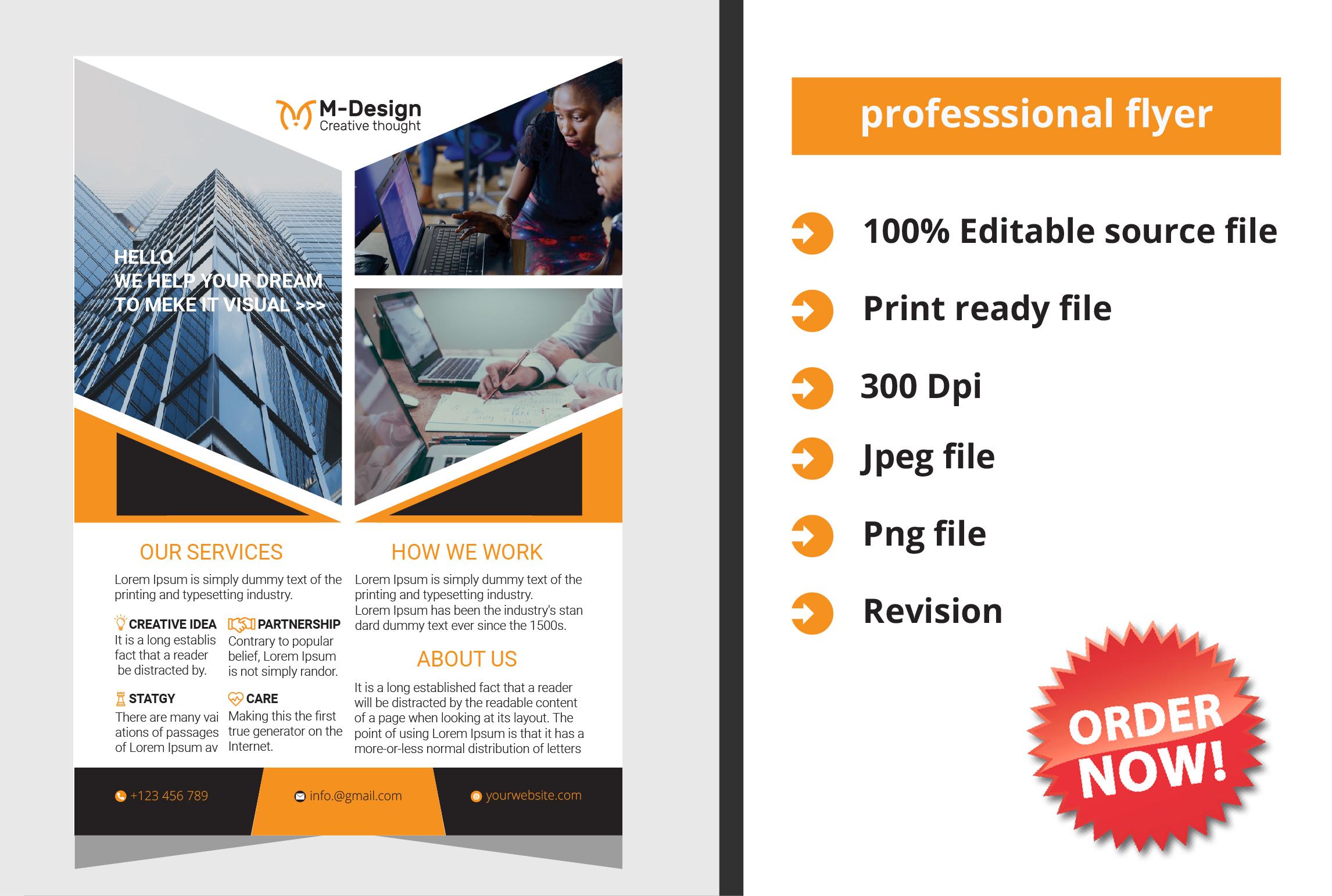 I will design flyer,  postcard,  leaflet within 24hr