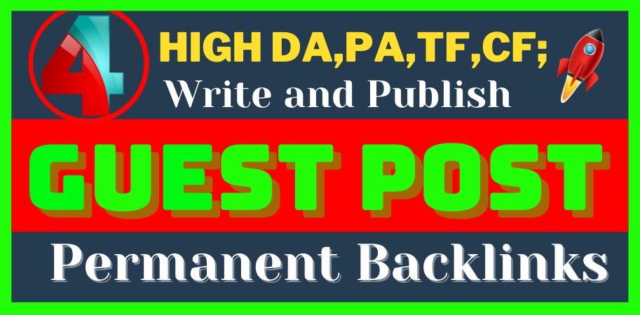 write and publish 4 H.Q. DA, PA Guest Post permanent Backlinks on reddit,  behance,  linkedin,  medium
