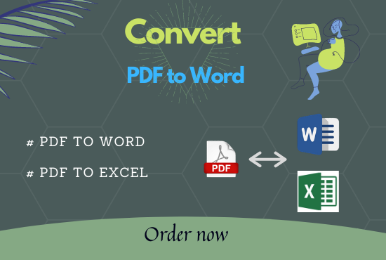I will do convert PDF to word,  PDF to excel,  copy paste,  data entry