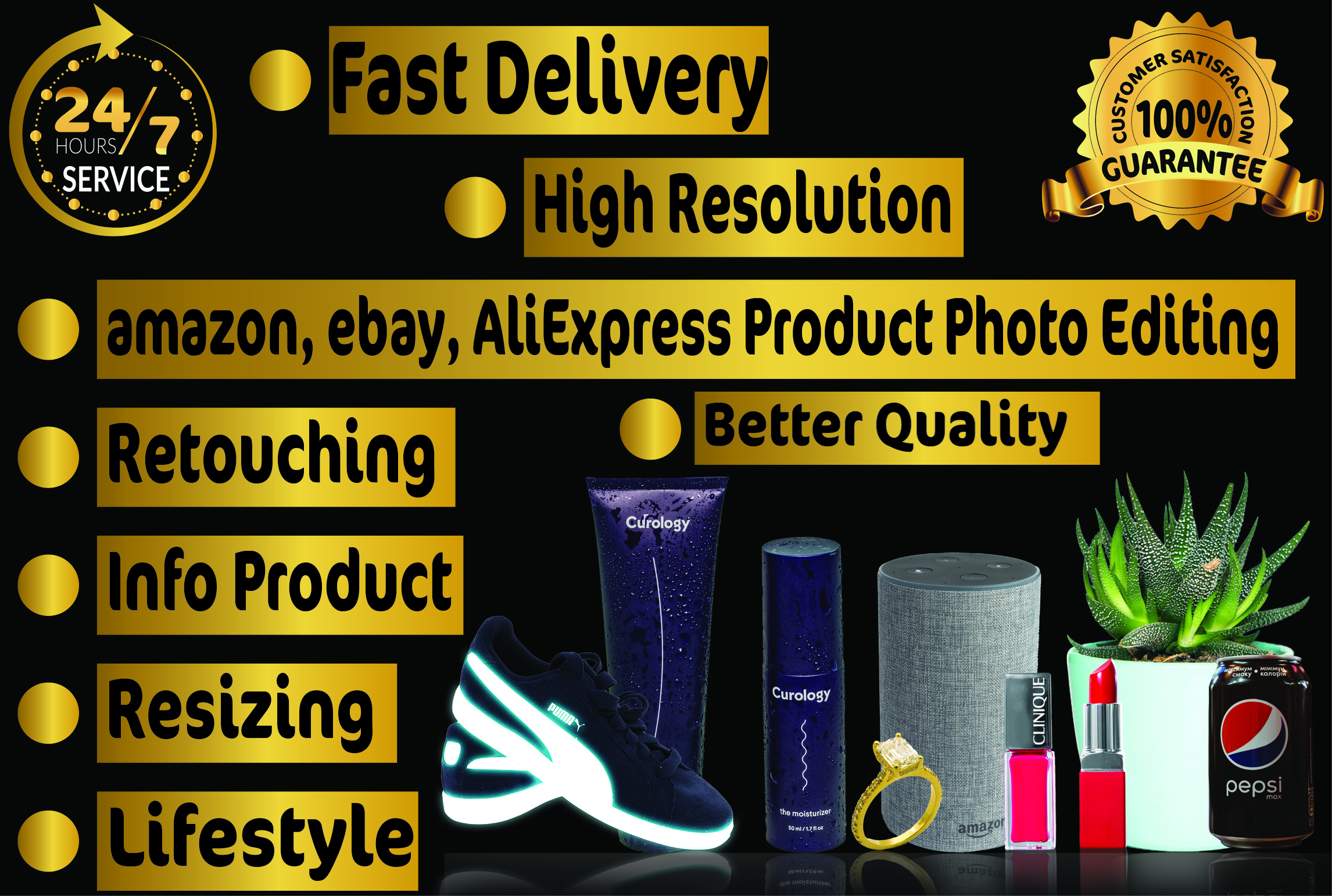 I will do photoshop editing and background removal for online product images
