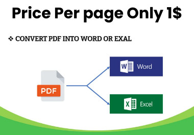 I will do manually typing work,  convert document,  PDF to word Or Excel