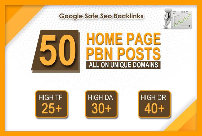 Get DA 30+ PA 35+ PR 5-9 Web2.0 50 Pbn Backlink in unique site
