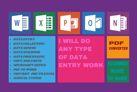 I will do data entry pdf conversion email scraping data extraction