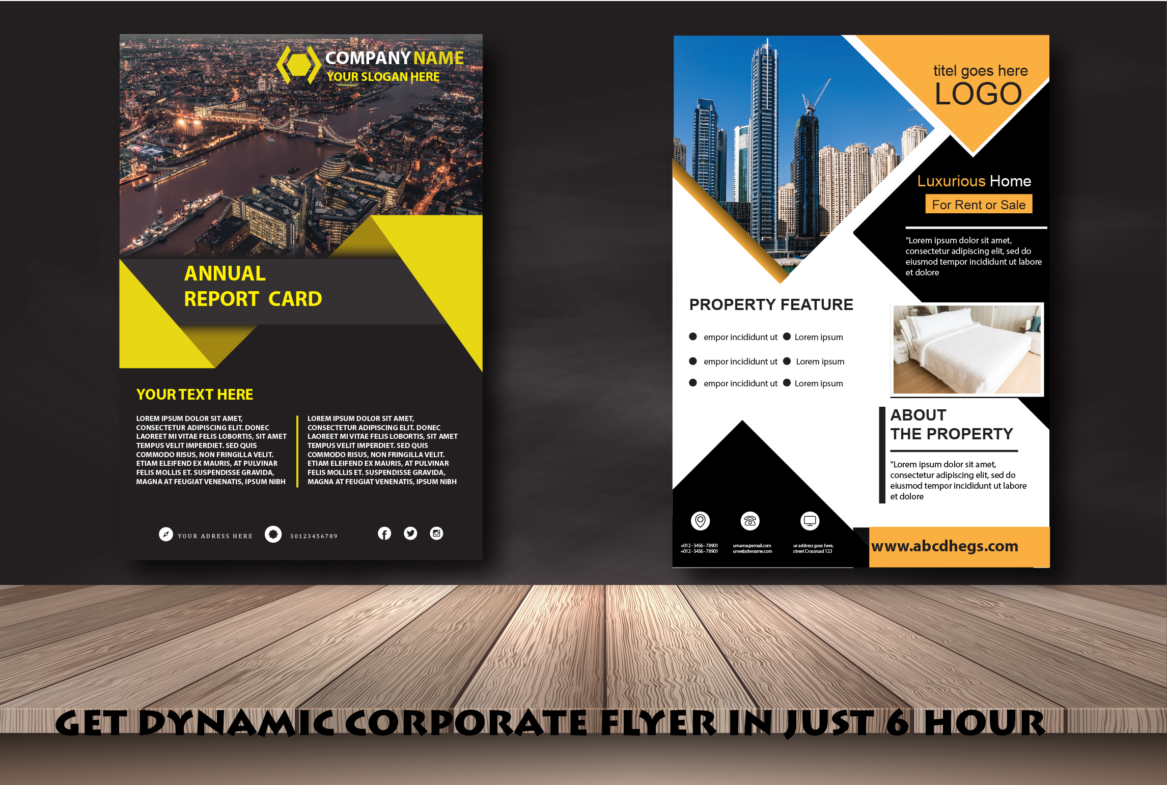 I will design attractive corporate flyer poster brochure and catalog
