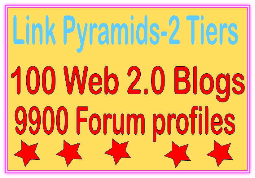 Boost Multi-Tier Backlinks - 10000 Web 2.0 Blogs &. Forum profiles Tiered Backlinks For SEO