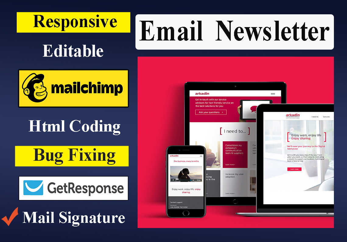 Create responsive,  editable email newsletter in HTML or Mailchimp