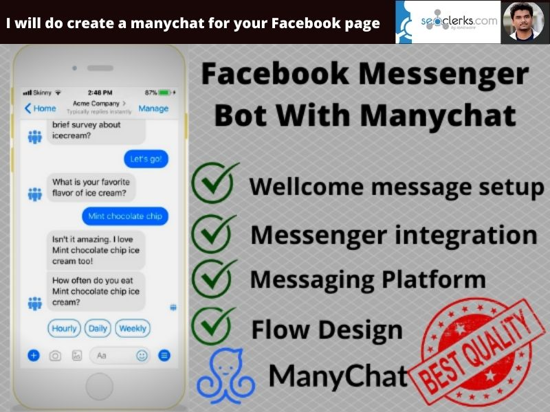 I will do create a manychat for your Facebook page