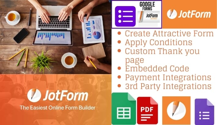 I will create standard and responsive online google form or Jotform