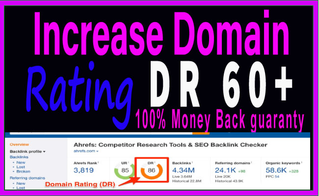 I will increase DR,  Increase ahrefs Dr,  increase domain rating. Upto 50 plus