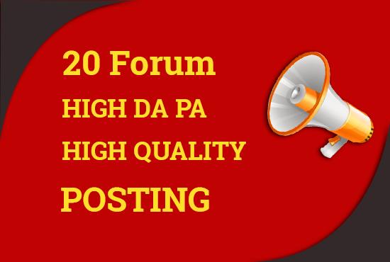 Manually do 20 high quality forum posting backlinks