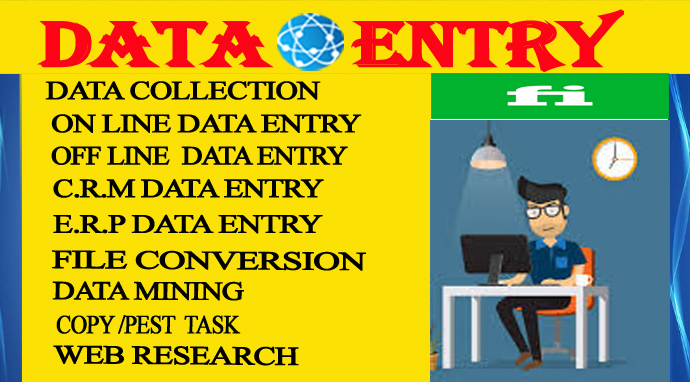 I Will do data entry,  data mining,  web research and copy paste