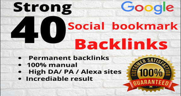 I will do 40 social bookmarking on high PR backlinks