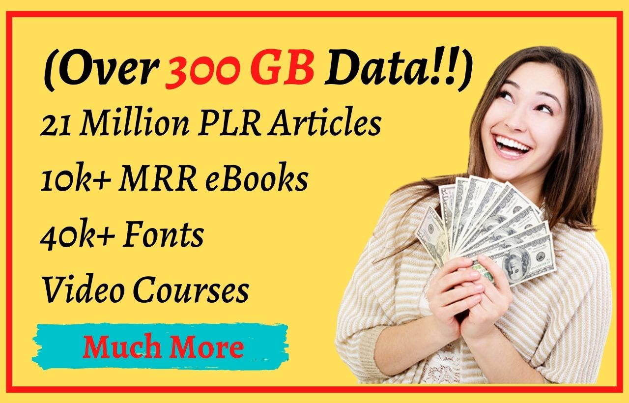 I will give you 300 gb plr article,  mrr ebook,  video course,  much more plr mrr content