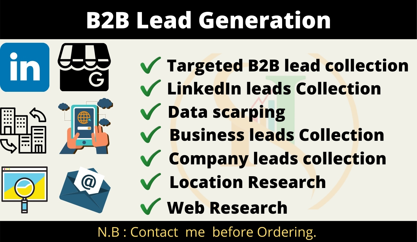 I will do b2b targeted leads generation 100 leads