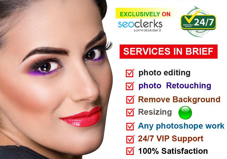 I will photo editing and skin retouching