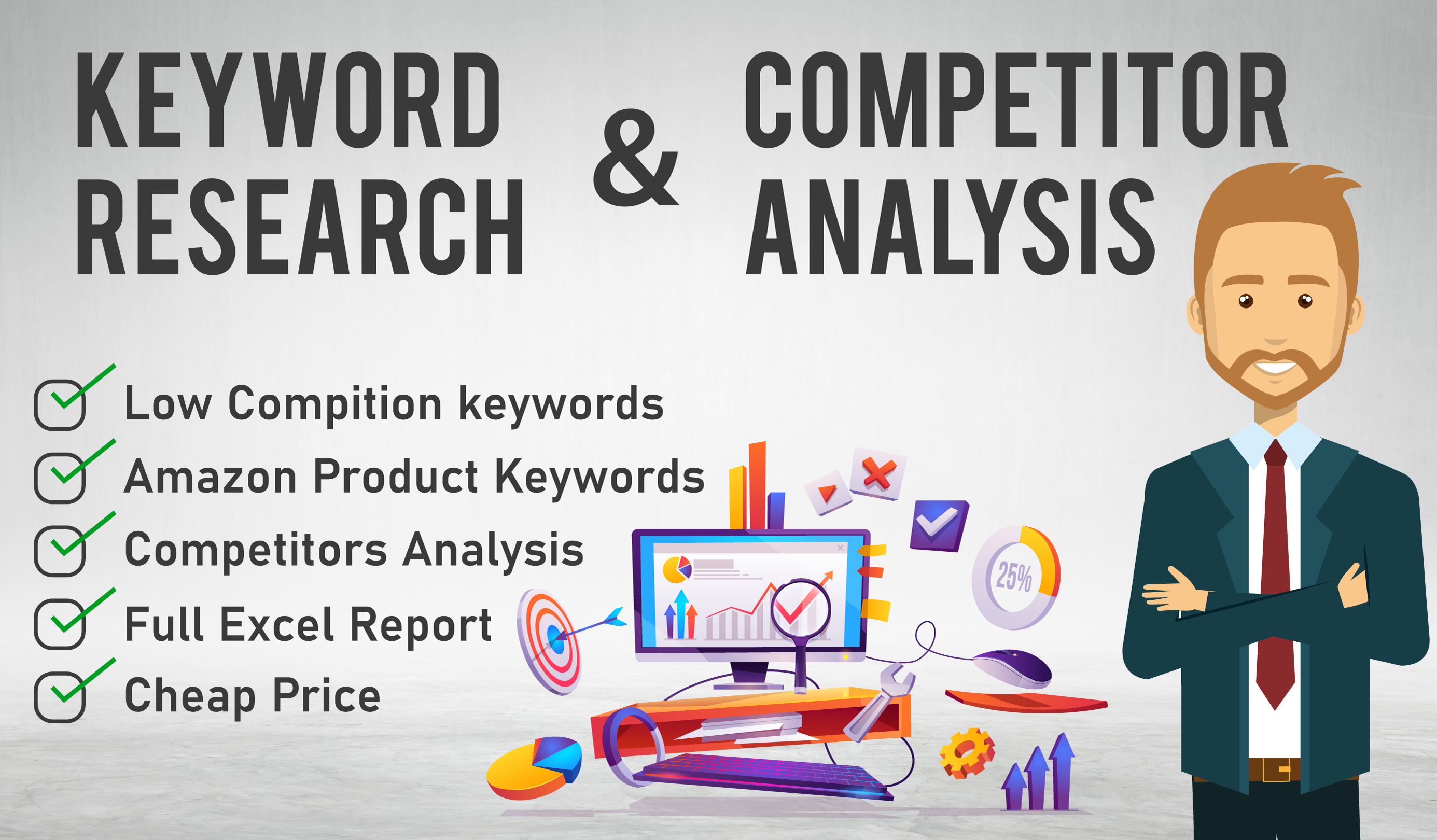 I will do SEO keyword research and competitors analysis in 24 hours